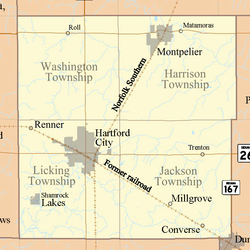 Hartford City Indiana Map.Blackford County Townships Maps