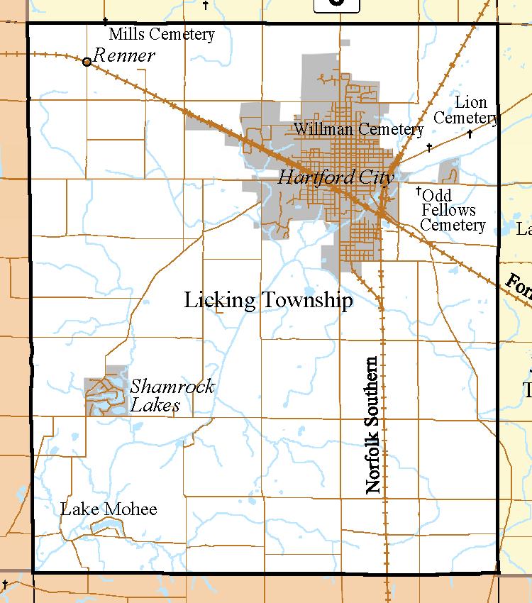 Hartford City Indiana Map.Blackford County Licking Township