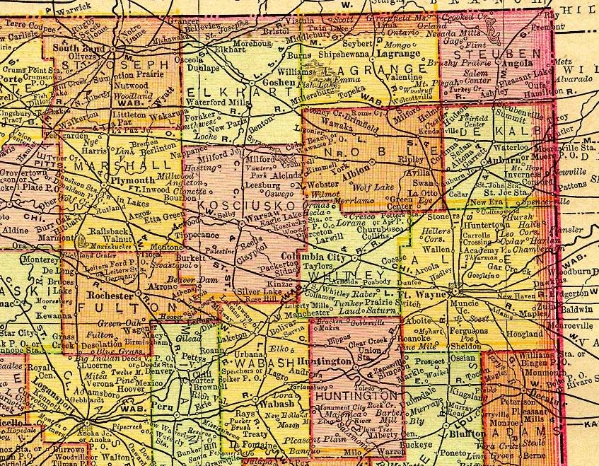 Northern Indiana 1895 Map
