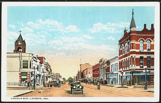 Down town Laporte about 1915