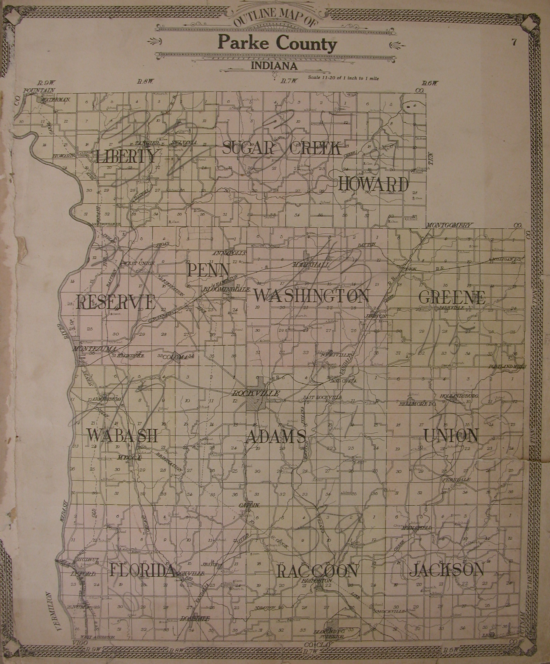 Parke County Indiana 1908 Atlas