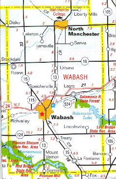 North Manchester Indiana Map.North Manchester Every County